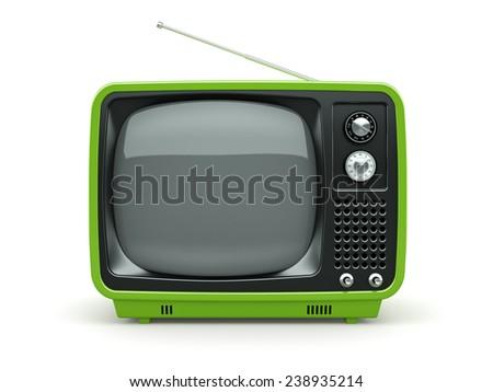 Green retro TV on white background  - stock photo