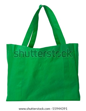 Green, reusable shopping bag - stock photo