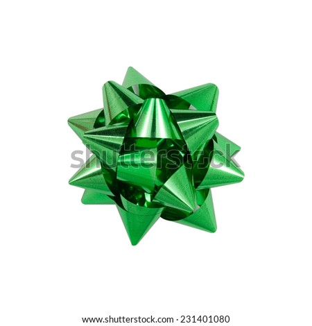 Green ribbon bow on white background - stock photo