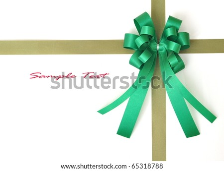 green ribbon bow on white isolated with text