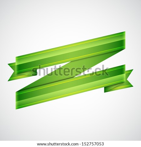 Green ribbon on gray. Abstract background. Raster version