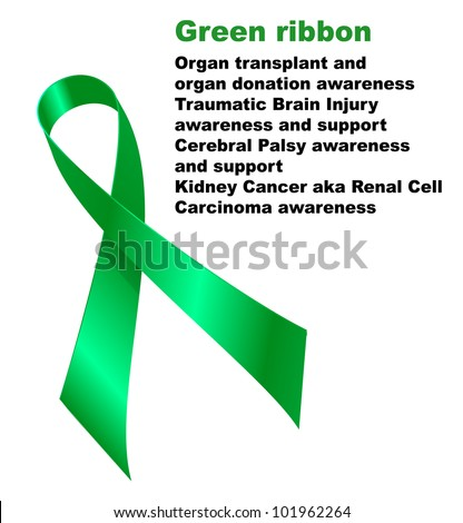 Green Ribbon Organ Transplant Organ Donation Stock Vector