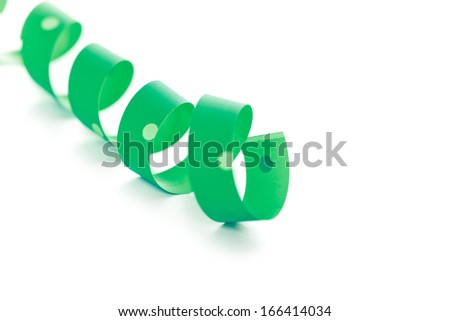 green ribbon serpentine isolated on white background