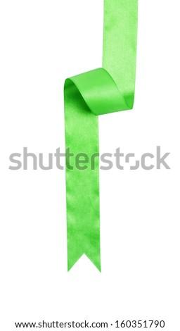 green ribbon tree isolated on white - stock photo