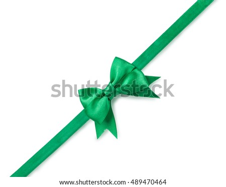 green ribbon with bow for packaging, isolated on white.