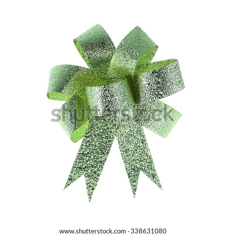Green ribbon with bow isolated on white. - stock photo