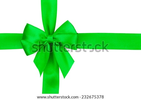 Green ribbon with bow. Isolated on white background - stock photo