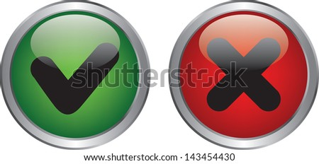 Green right and red wrong circle button