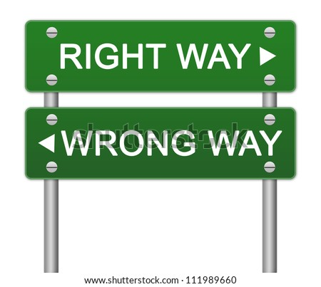 Green Right Way and Wrong Way Traffic Sign Isolated on White Background - stock photo
