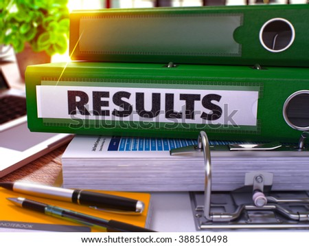Green Ring Binder with Inscription Results on Background of Working Table with Office Supplies and Laptop. Results - Toned Illustration. Results Business Concept on Blurred Background. 3D Render. - stock photo