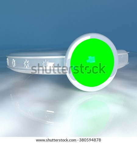 Green ring, silver metal, over reflecting surface, 3d render, square image