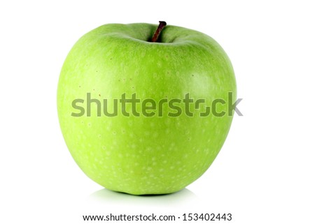Green ripe apple on white background.