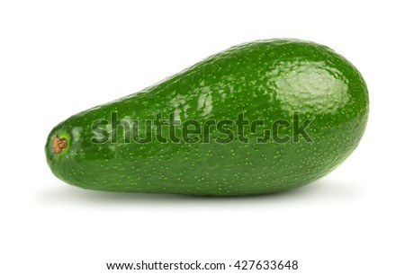 Green ripe avocado fruit isolated on white background - stock photo