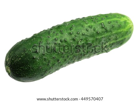 Green ripe cucumber it is isolated on a white background