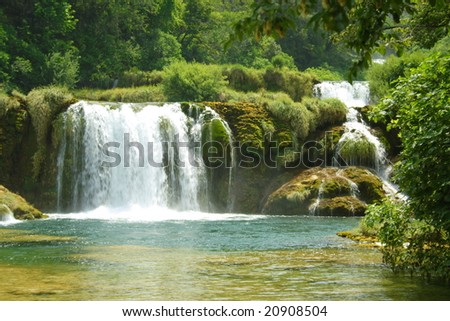 green river in KRKA National Park - stock photo
