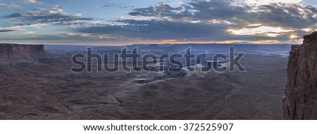 Green River overlook, Canyonlands National Park at sunset panorama