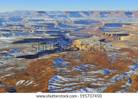 Green River overlook in Canyonlands National Park, Utah in winter - stock photo