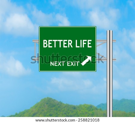Green Road Sign concept to BETTER LIFE and Sky background.