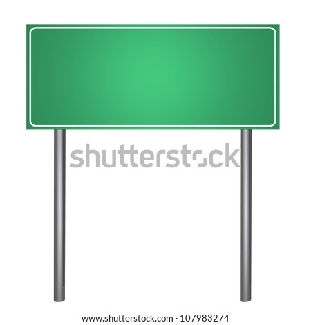 Green road sign isolated on white - stock photo