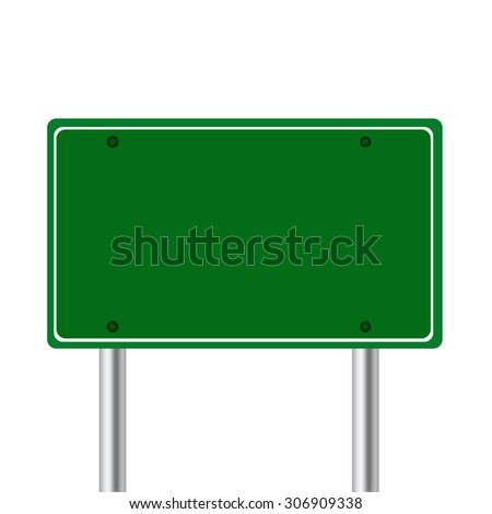 Green road sign isolated on white background.
