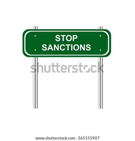 Green road sign stop sanction