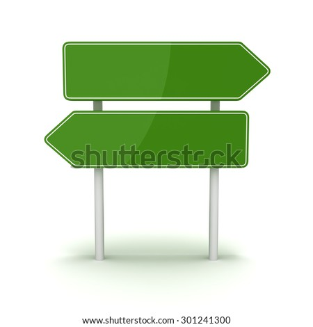 Green road sign , This is a computer generated and 3d rendered picture.