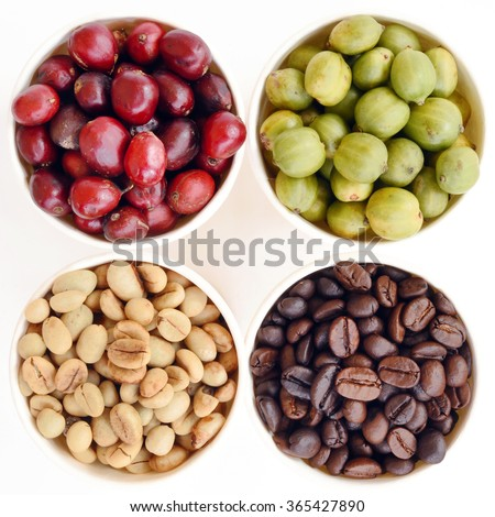 green, roasted and fresh coffee beans isolated on white background - stock photo