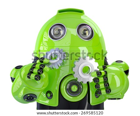 Green robot with gears. Technology concept. Isolated, contains clipping path. - stock photo