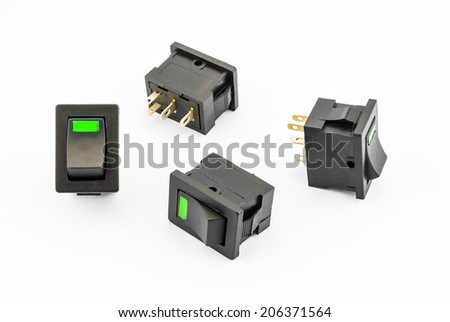 Green Rocker Switches with Build-in LED.