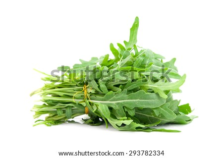 green rocket or roquette leaves isolated on white - stock photo