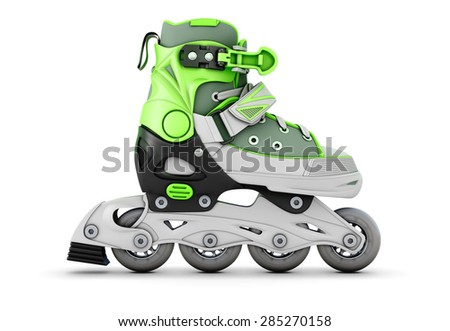 Green roller skate side view isolated on white background. 3d illustration. - stock photo