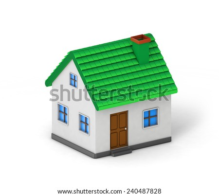 green roof house isolated white background with clipping path - stock photo