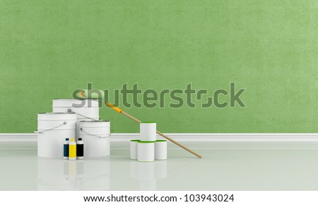 green room freshly painted with a brush roller and paint cans - rendering - stock photo