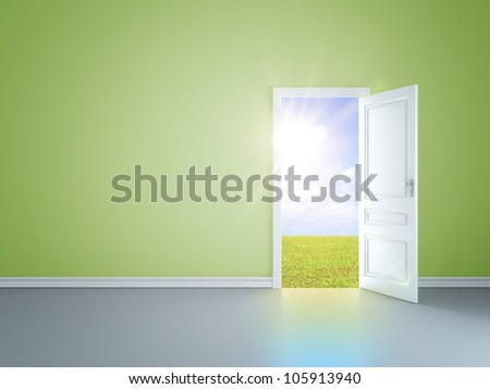 green room with an open door in field - stock photo