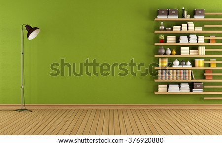 Green room with floor lamp and minimalist bookcase - 3D Rendering - stock photo