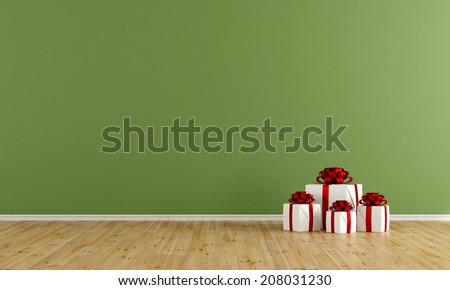 Green room with gift on wooden floor-rendering - stock photo