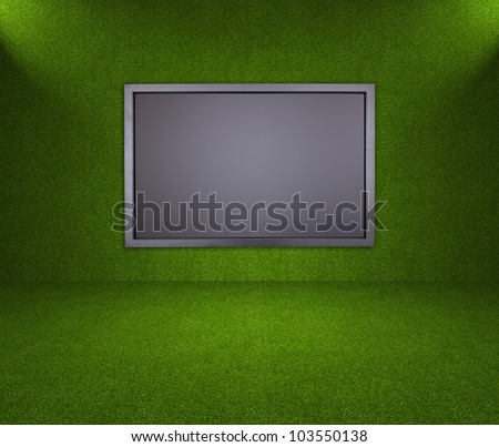 Green Room with LCD screen - stock photo