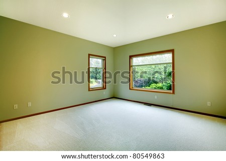 Green room with two large windows