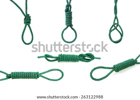 Green rope tied the knot - stock photo