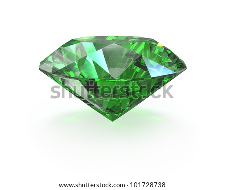 Green round cut emerald, isolated on white - stock photo