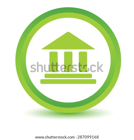 Green round volumetric icon with image of building with pillars, isolated on white - stock photo