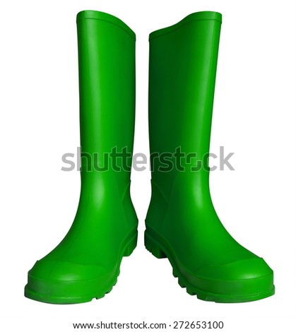 Green rubber boots isolated on white. Clipping path included. - stock photo