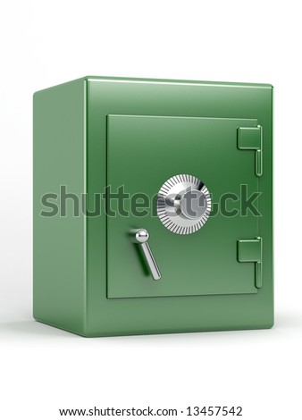 green safe on white background