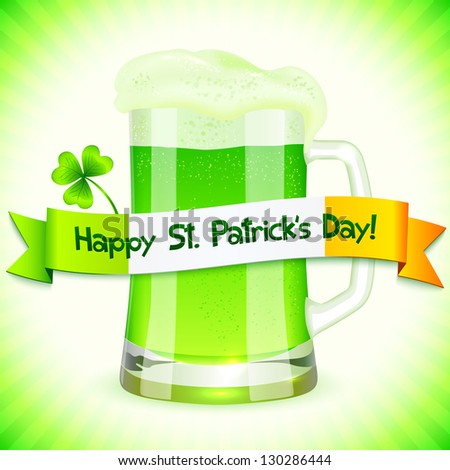 Green Saint Patrick's Day greeting card with pint of green beer. Raster illustration. Vector version also exist. - stock photo