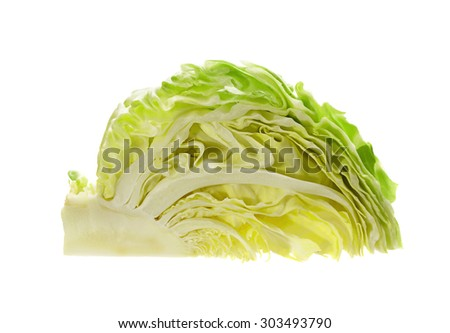 Green salad cabbage part isolated on white background - stock photo