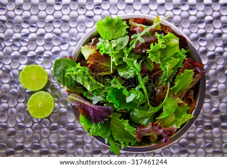 Green salad Mediterranean green and red lettuce spinach on modern stainless steel table - stock photo