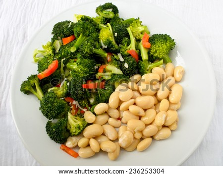 Green salad with broccoli and haricot bean - stock photo