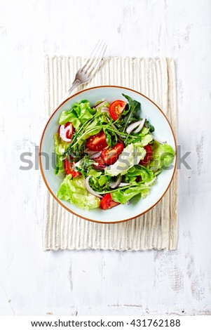 Green Salad with Cherry Tomatoes - stock photo