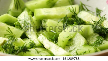 Green salad with cucumber and dill