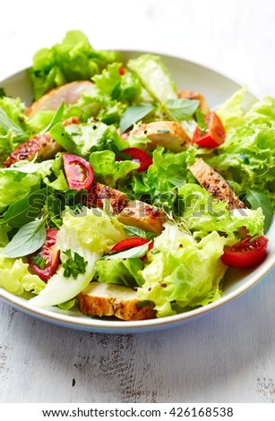 Green Salad with Grilled Chicken Breast - stock photo